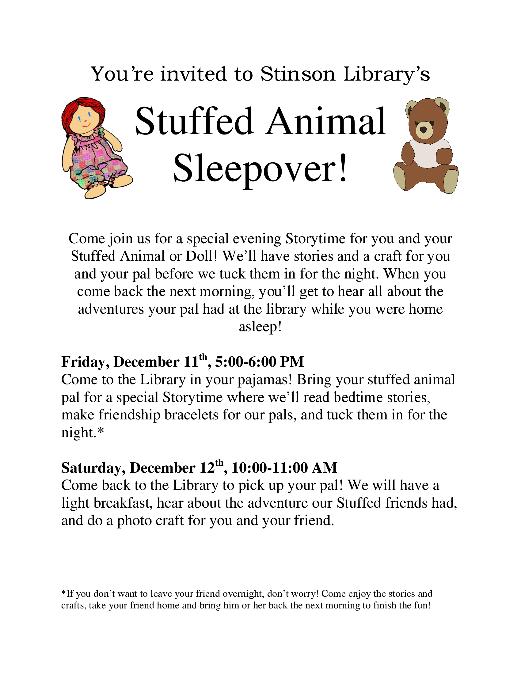 stuffie sleepover flyer